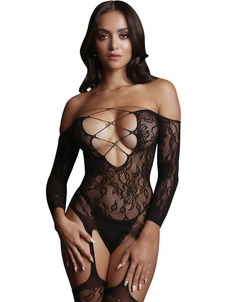Bodystocking deep v neck line